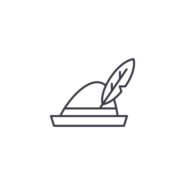 德國帽子線性圖示概念。德國帽子線向量標誌, 標誌, 例證。向量藝術插圖