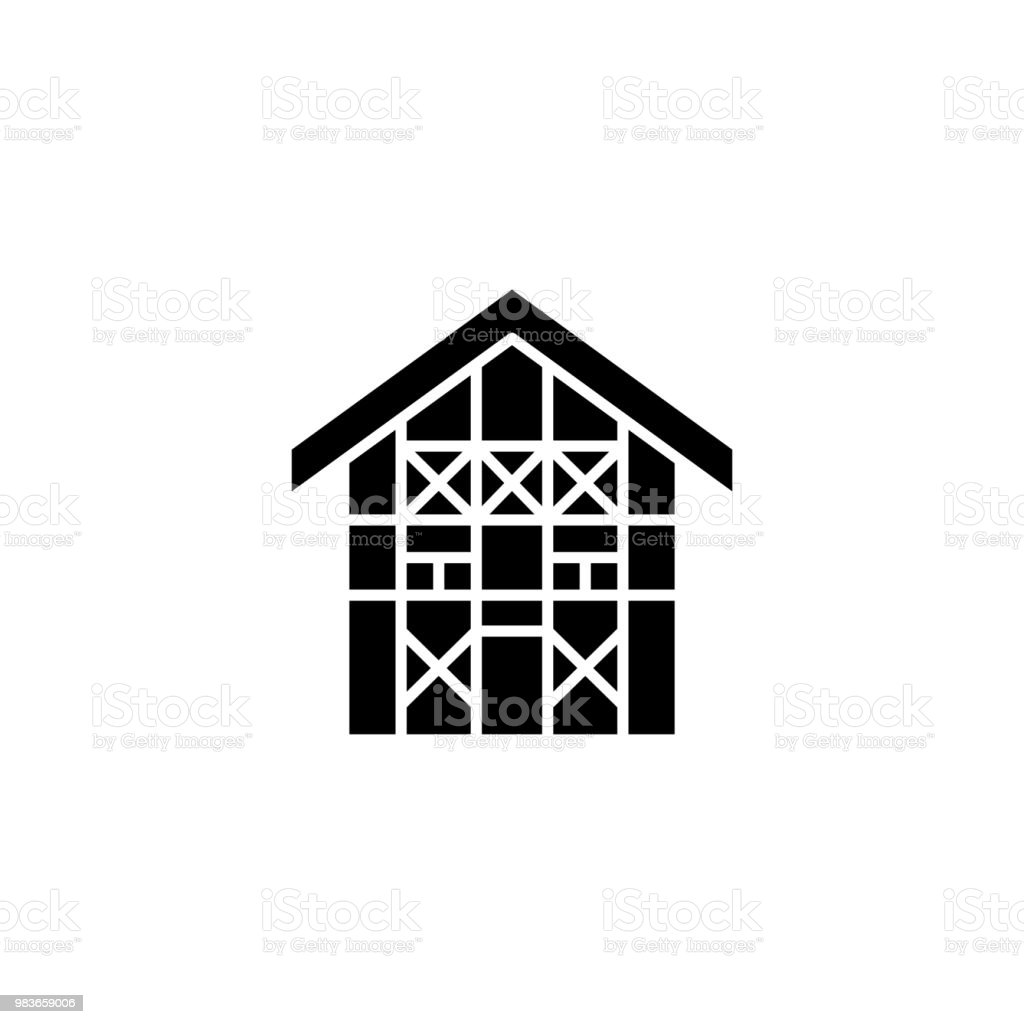 German House Black Icon Concept German House Flat Vector Symbol Sign