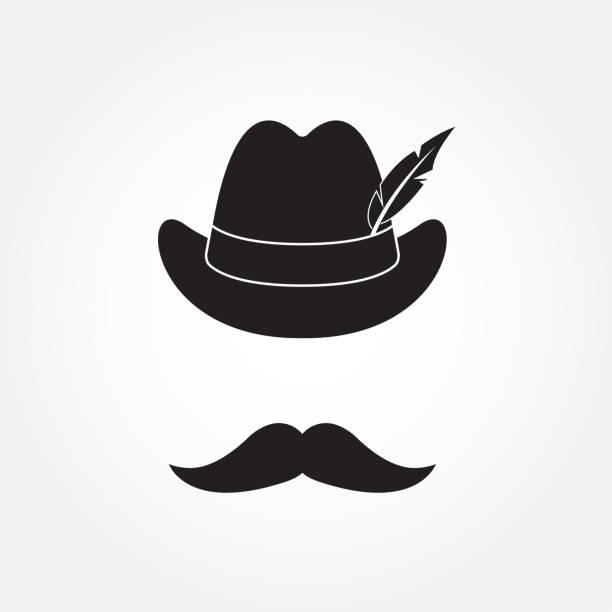 깃털과 콧수염 독일 사냥 모자입니다. 흰색 배경에 고립 octoberfest 기호입니다. 벡터 일러스트입니다. - 독일 문화 stock illustrations