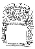 German Invitation Einladung Blank Scroll Drawing