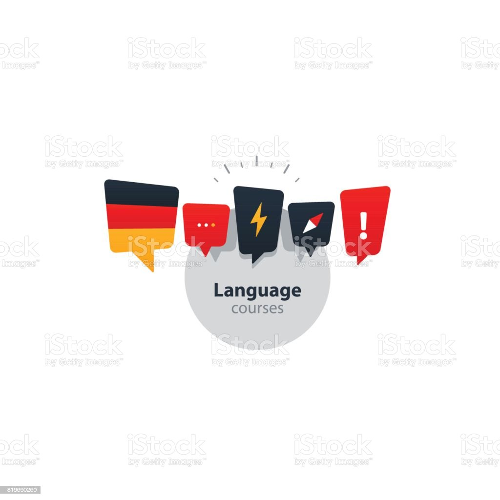 German language courses advertising concept. Fluent speaking foreign language vector art illustration