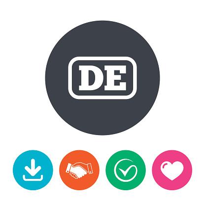 German language sign icon. DE Deutschland