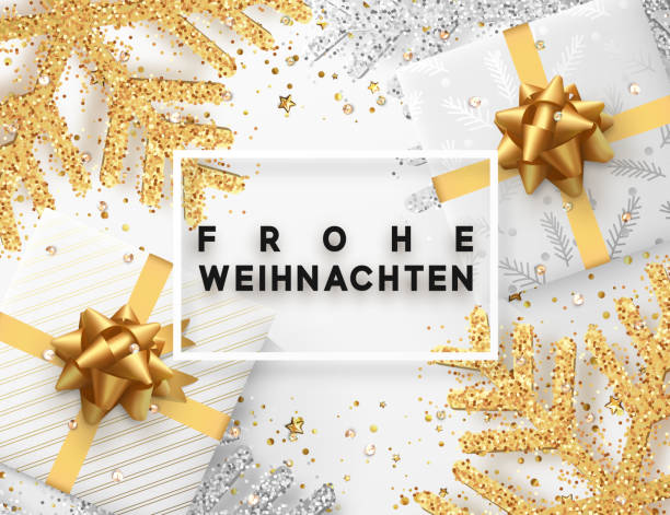 German lettering Frohe Weihnachten. Christmas background with gifts box and shining golden and silver snowflakes. Greeting card Merry Christmas. Vector Illustration. German lettering Frohe Weihnachten. Christmas background with gifts box and shining golden and silver snowflakes. Greeting card Merry Christmas. Vector Illustration. weihnachten stock illustrations