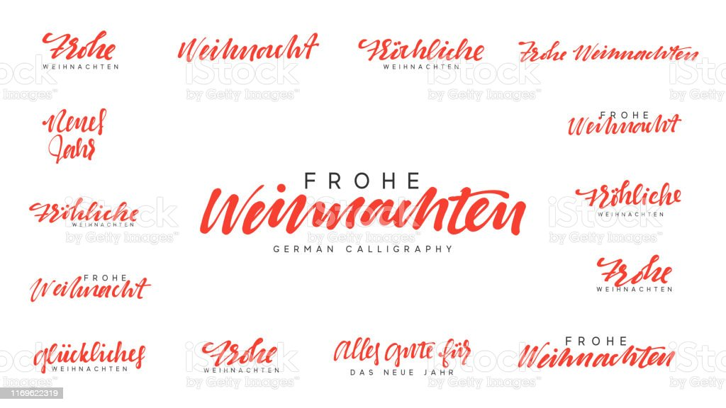 German lettering Frohe Weihnachten, Frohliche Weihnachten. Merry Christmas and Happy New Year, red calligraphy - Векторная графика 2020 роялти-фри