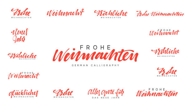 german lettering frohe weihnachten, frohliche weihnachten. merry christmas and happy new year, red calligraphy - weihnachten stock illustrations