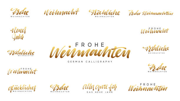 German lettering Frohe Weihnachten, Frohliche Weihnachten. Merry Christmas and Happy New Year, golden Handwritten lettering text calligraphy. vector illustration German lettering Frohe Weihnachten, Frohliche Weihnachten. Merry Christmas and Happy New Year, golden Handwritten lettering text calligraphy. vector illustration weihnachten stock illustrations
