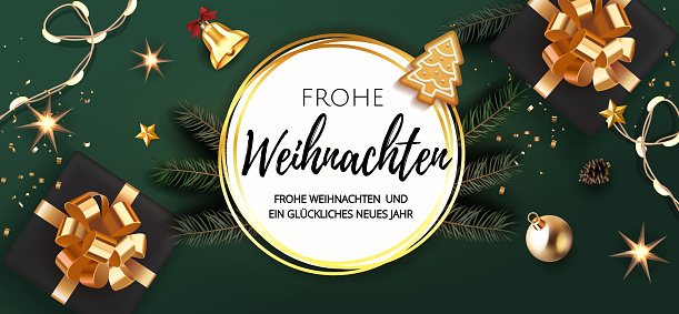 German lettering Frohe Weihnachten - Happy New Year and Merry Christmas. Christmas festive VIP green gold background with gifts box and Xmas balls, stars, bell, light garland, gingerbread fir tree