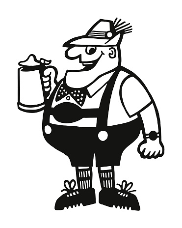 German Man Drinking Beer from a Stein