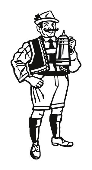 German Man Holding a Beer Stein