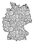 German map with flowers