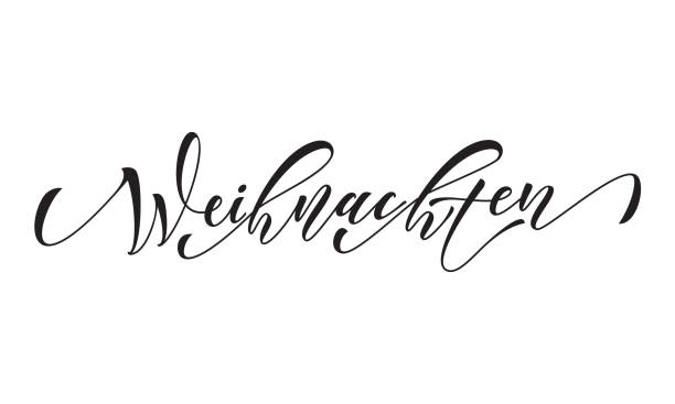 german merry christmas frohe weihnachten calligraphy text greeting - weihnachten stock illustrations