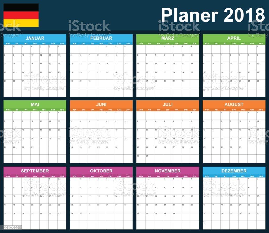 Deutschplaner Für 2018 Leer Scheduler Agenda Oder Tagebuch Vorlage ...