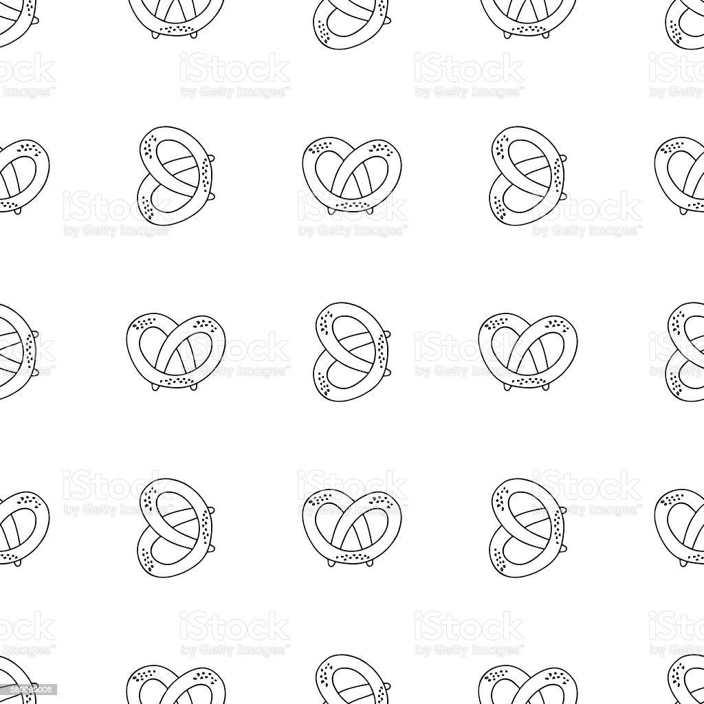 German pretzels seamless pattern on white background. vector art illustration