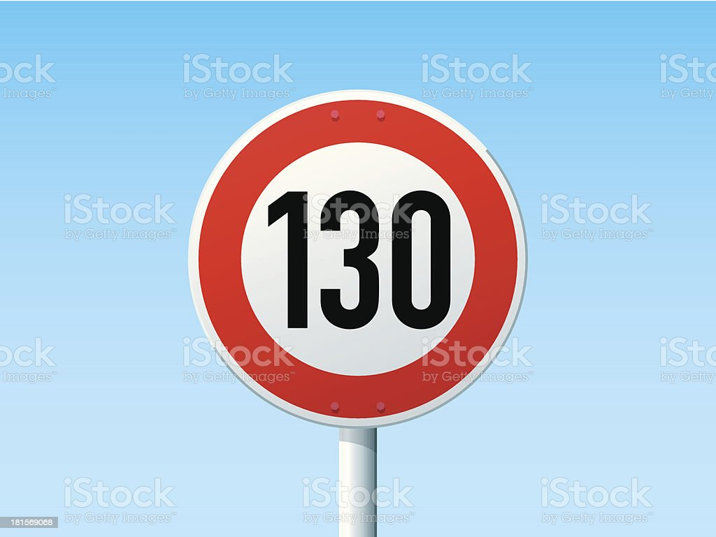 German Road Sign Speed Limit 130 kmh vector art illustration