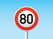 Vector Illustration of a german Road Sign in front of a clear blue sky: Speed Limit 80 km/h. All objects are on separate layers. The colors in the .eps-file are ready for print (CMYK). Transparencies used. Included files: EPS (v10) and Hi-Res JPG.