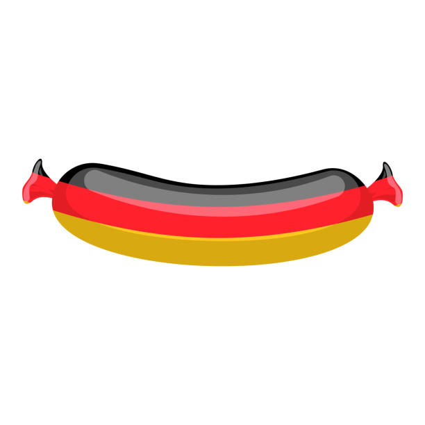 deutsche wurst isoliert. traditionelle fleisch delikatesse aus deutschland auf weißem hintergrund - sauerkraut stock-grafiken, -clipart, -cartoons und -symbole