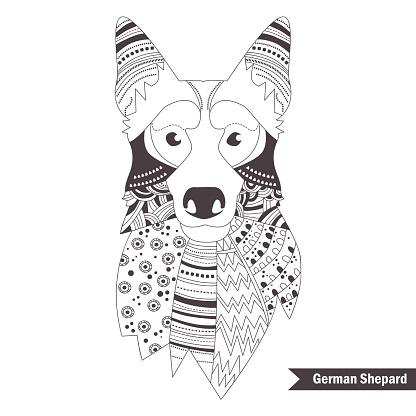 German shepherd. Coloring book