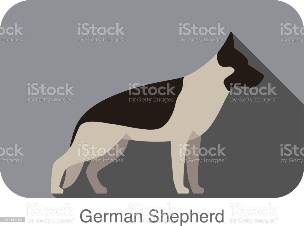 German Shepherd Dog Rasse Flache Icondesign Vektor Illustration ...