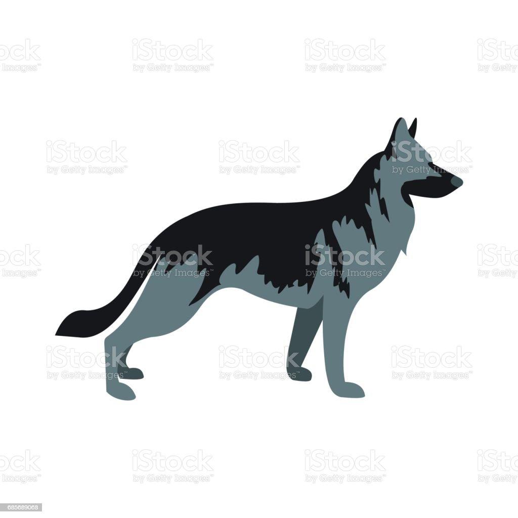 德國牧羊犬的狗圖示,平面樣式 免版稅 德國牧羊犬的狗圖示平面樣式 向量插圖及更多 側影 圖片