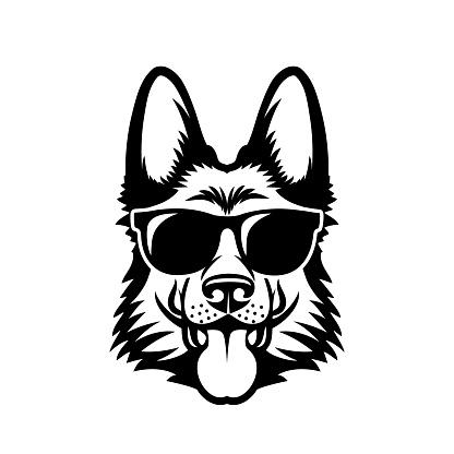 German Shepherd dog wearing sunglasses - isolated outlined vector illustration