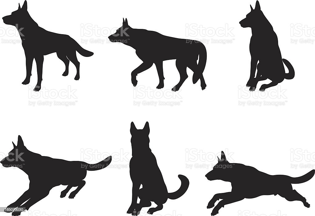 German Shepherd Silhouette Collection royalty-free stock vector art