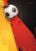 Grunge soccer background of a football on the German flag. Download includes EPS file and hi-res jpeg.