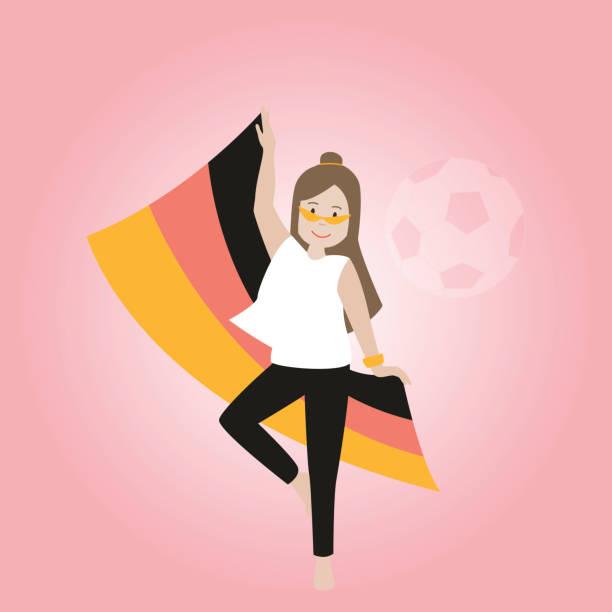 Deutsche Fußball-Fan-Mädchen – Vektorgrafik