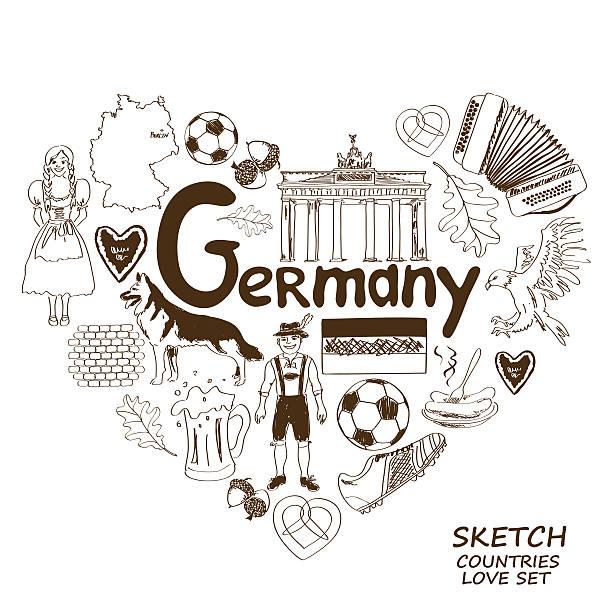 ilustrações de stock, clip art, desenhos animados e ícones de alemão símbolos no conceito de forma de coração - berlin wall