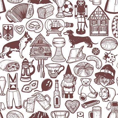 German Symbols Pattern in Hand Drawn Style