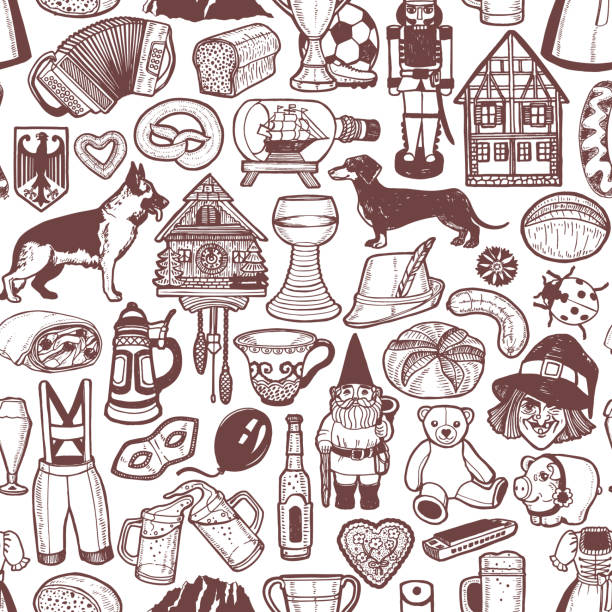 German Symbols Pattern in Hand Drawn Style German Symbols Pattern. Seamless Background in Hand Drawn Style for Surface Design Fliers Banners Prints Posters Cards. Vector Illustration bread backgrounds stock illustrations