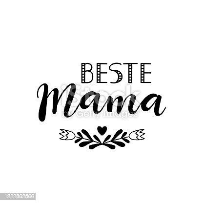 istock German text: Best mom. Vector illustration. Lettering. Ink illustration. 1222862566