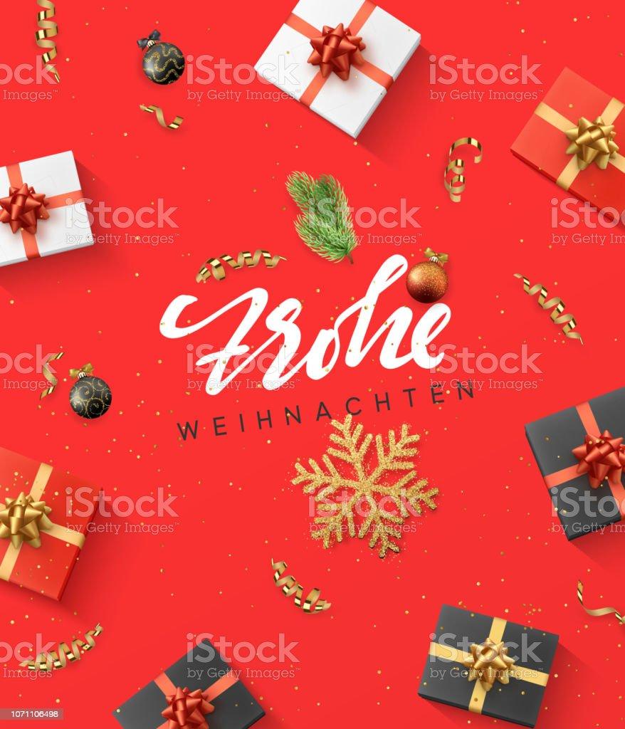 Немецкий текст Фрохе Вейхнахтен. Рождественская композиция. подарок, конфетти, золотая снежинка и шары, Xmas ветка дерева - Векторная графика Ёлочные игрушки роялти-фри