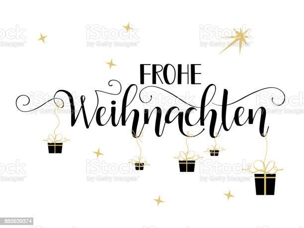 Almanca Bir Metnin Frohe Weihnachten Neşeli Noel Stok Vektör Sanatı & Alman Kültürü'nin Daha Fazla Görseli