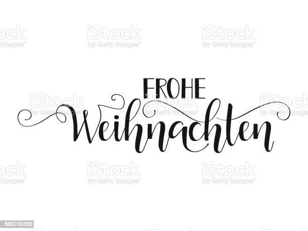 German Text Frohe Weihnachten — стоковая векторная графика и другие изображения на тему Ёлочные игрушки