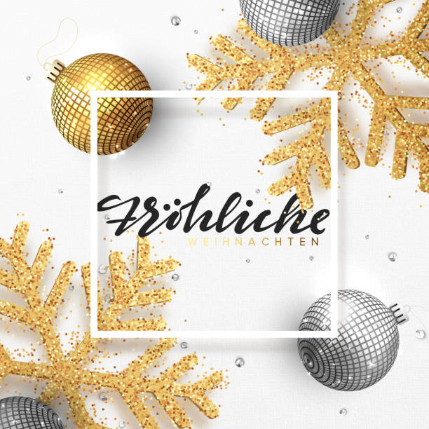 German text Frohliche Weihnachten. Christmas background with shining gold snowflakes and glowing bright balls. German text Frohliche Weihnachten. Christmas background with shining gold snowflakes and glowing bright balls. Holiday frame with xmas ornaments weihnachten stock illustrations