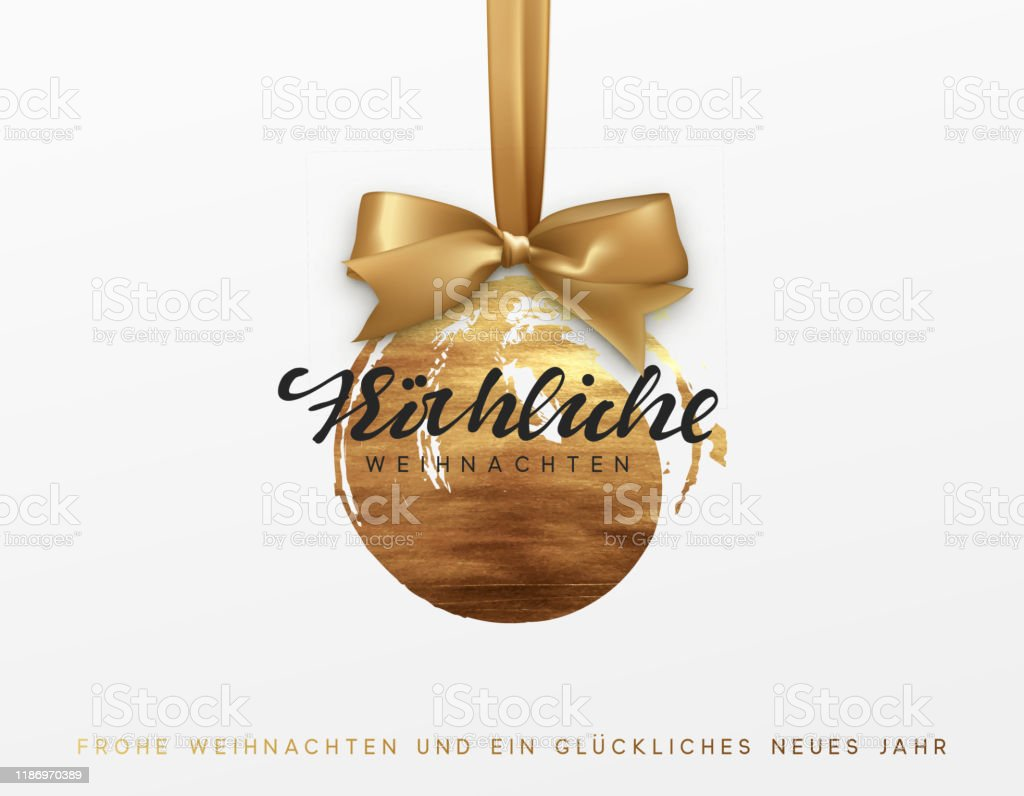 German text Frohliche Weihnachten. Gold Christmas card, design with Xmas golden bauble ball on ribbon. - Векторная графика 2020 роялти-фри