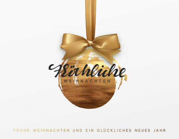 german text frohliche weihnachten. gold christmas card, design with xmas golden bauble ball on ribbon. - weihnachten stock illustrations
