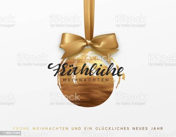 German Text Frohliche Weihnachten Gold Christmas Card Design With Xmas Golden Bauble Ball On Ribbon — стоковая векторная графика и другие изображения на тему 2020