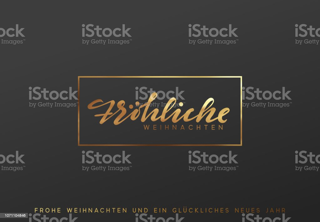 German text Frohliche Weihnachten. Merry Christmas gold lettering in a frame background - Векторная графика Блёстки роялти-фри