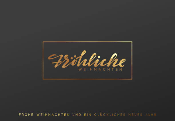 german text frohliche weihnachten. merry christmas gold lettering in a frame background - weihnachten stock illustrations