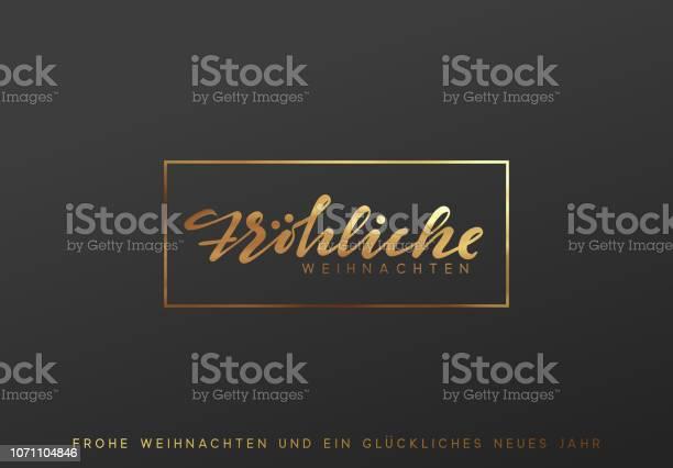 German Text Frohliche Weihnachten Merry Christmas Gold Lettering In A Frame Background — стоковая векторная графика и другие изображения на тему Блёстки