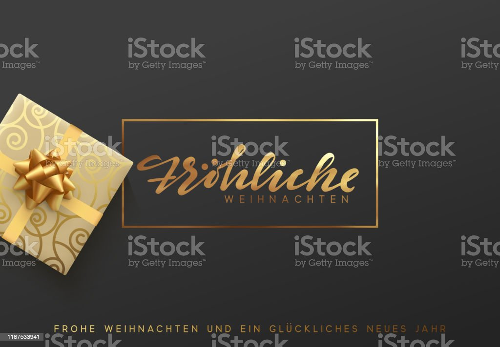 German text Frohliche Weihnachten. Merry Christmas gold lettering in a frame background - Векторная графика 2020 роялти-фри
