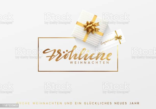 Almanca Metin Frohliche Weihnachten Bir Çerçeve Arka Plan Içinde Merry Christmas Altın Yazı Stok Vektör Sanatı & 2020'nin Daha Fazla Görseli
