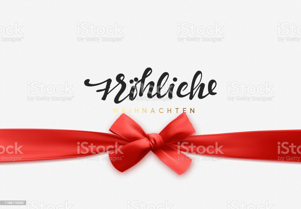 German text Frohliche Weihnachten. Merry Christmas Holiday background. Handwritten text, realistic textured pattern, pull ribbon bow. - Векторная графика Ёлочные игрушки роялти-фри