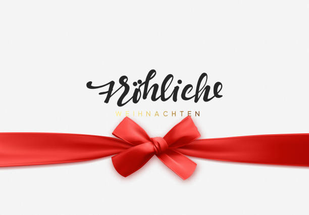 german text frohliche weihnachten. merry christmas holiday background. handwritten text, realistic textured pattern, pull ribbon bow. - weihnachten stock illustrations