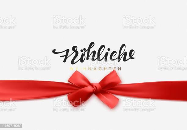 German Text Frohliche Weihnachten Merry Christmas Holiday Background Handwritten Text Realistic Textured Pattern Pull Ribbon Bow — стоковая векторная графика и другие изображения на тему Ёлочные игрушки