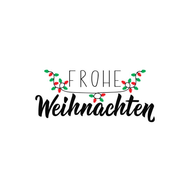 German text: Merry Christmas. Lettering. Banner. calligraphy vector illustration. Frohe Weihnachten. German text: Merry Christmas. Lettering. vector illustration. element for flyers, banner and posters Modern calligraphy. Frohe Weihnachten. weihnachten stock illustrations
