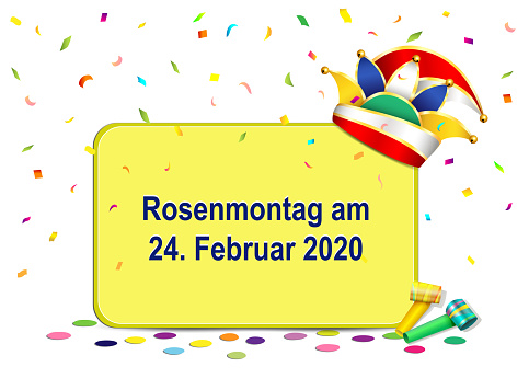 German text Rosenmontag, translate Carnival Monday, with Carnival hat, confetti and flute, vector illustration isolated on white background