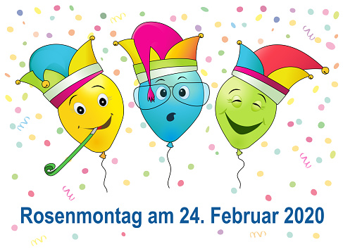 German text Rosenmontag, translate Carnival Monday, with funny balloons and confetti, vector illustration isolated on white background