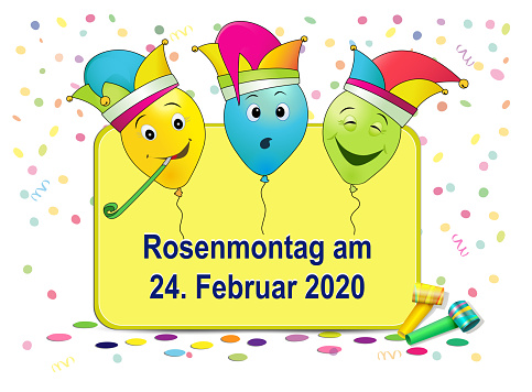 German text Rosenmontag, translate Carnival Monday, with funny balloons, confetti and flute, vector illustration isolated on white background